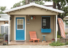 micro home at Community First! Village in Austin Texas - housing the homeless